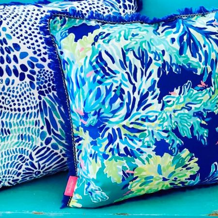The Polka-Dot Palm Edenton NC, Lilly Pulitzer Throw Pillows