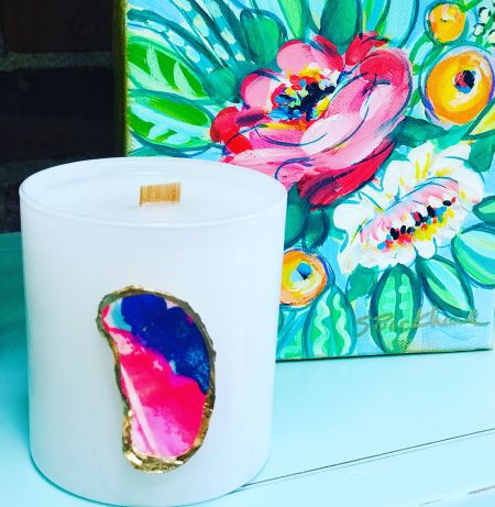 The Polka-Dot Palm Edenton NC, Oyster Shell Candle with a Lilly Twist