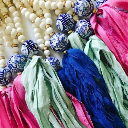 The Polka-Dot Palm Edenton NC, Tassel Necklace with Porcelain Bead